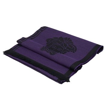 VERSACE 女王頭羊毛圍巾(紫)SC41LAA9822-003