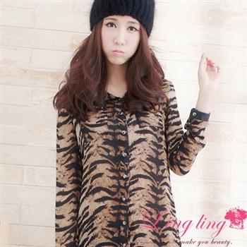 【lingling】時髦斑馬紋皮領鉚釘襯衫(率性咖)A1269