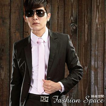 時尚空間 皇家黑色格紋窄版雙扣西裝外套【624】附贈西裝防塵袋