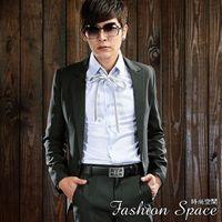 空間 日系版極緻條紋單扣西裝外套~608~合身窄版