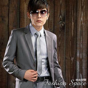 時尚空間 雅痞型男成熟風灰色雙扣條紋西裝外套【622】