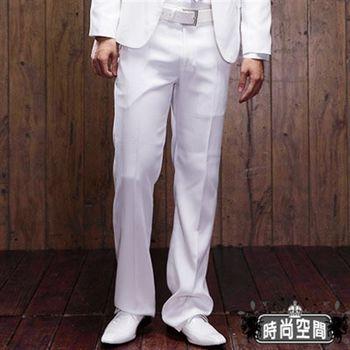 時尚空間 韓窄花樣男子版亮白條紋中低腰直筒西裝褲【FS813】 白