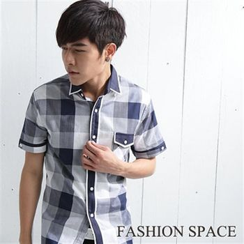 時尚空間 清新簡約日系風.率性品味漸層格紋短袖襯衫【121306】