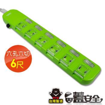 【太星電工】蓋安全彩色延長線六開六插(2P15A6尺)