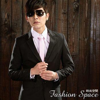時尚空間 皇家黑色格紋窄版雙扣西裝一套【FS624】附贈西裝防塵袋