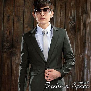 時尚空間 日系版極緻條紋單扣西裝一套【FS608】附贈西裝防塵袋