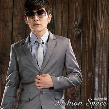 時尚空間 雅痞型男成熟風灰色雙扣條紋西裝整一套【FS622】