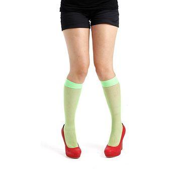 【摩達客】英國進口 Pamela Mann 螢光綠細格紋及膝高筒襪