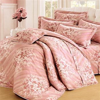 【KOSNEY】尊容粉語加大活性精梳棉六件式床罩組台灣製