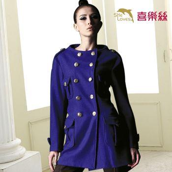 【SHELOVES 喜樂絲】高質感軍裝風羊毛大衣外套
