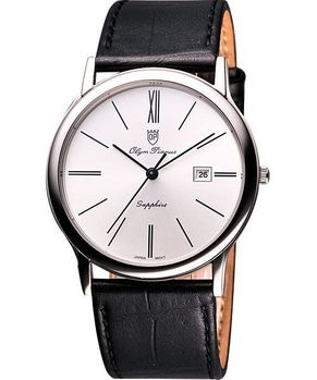 Olympianus 復古簡約風尚腕錶-銀/黑 130-10GS