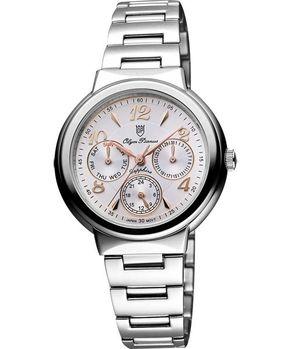 Olympianus 奧柏 時尚日曆女錶-銀 5686MCRS-銀
