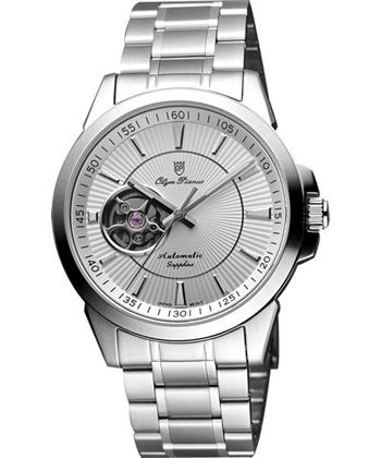 Olympianus都會鏤空時尚機械腕錶-銀 990-082AMS
