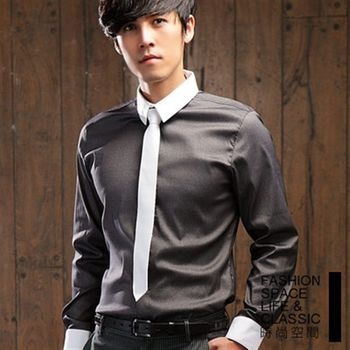 時尚空間 都市跳色設計領極細條紋長袖襯衫【FS308】共四色
