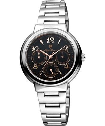Olympianus 奧柏 時尚日曆女錶-黑/銀 5686MCRS