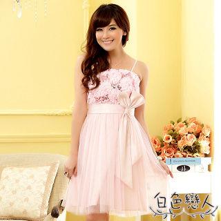 【白色戀人中大尺碼】粉色甜美繡花亮片蝴蝶結小禮服JK- 0011