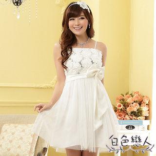 【白色戀人中大尺碼】白色甜美繡花亮片蝴蝶結小禮服JK-0011