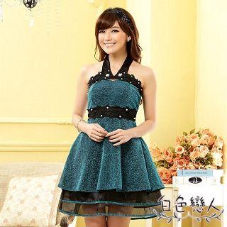 【白色戀人中大尺碼】藍色圍脖釘珠層次裙擺小禮服JK-0911