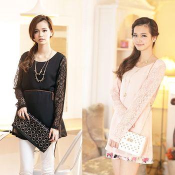 I-Sweety蕾絲設計袖優雅雪紡長版上衣兩件組0394