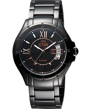 STAR 轉動時光藍寶石水晶時尚女錶-IP黑 9T0622DR