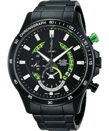 ALBA 疾速奔馳賽車手計時腕錶-IP黑x綠 YM92-X257G