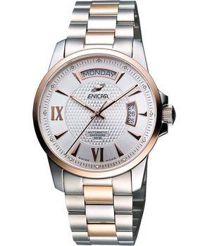 ENICAR恆動經典日曆機械腕錶-銀雙色版169-50-338G