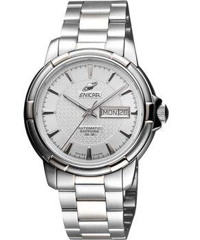 ENICAR 航行經典日曆機械腕錶-銀 168-50-335aA