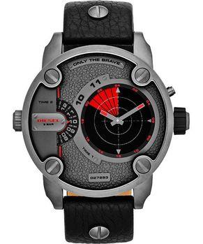 DIESEL雙時區雷達指示轉動腕錶-灰/黑 DZ7293