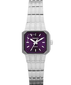 DIESEL 龐克搖滾女孩時尚腕錶-紫/銀 DZ5313
