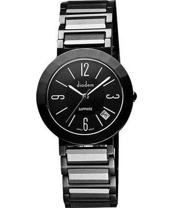 Diadem 黛亞登 都會女仕時尚陶瓷腕錶-黑 7D5022DD