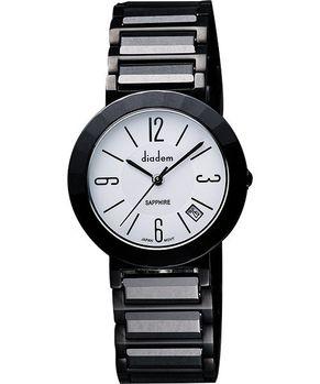 Diadem 黛亞登 都會女仕時尚陶瓷腕錶-白/黑7D5022DS