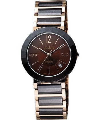 Diadem 黛亞登都會時尚腕錶-咖啡x雙色版7D5022RC