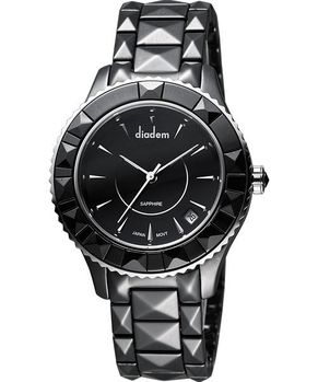 Diadem 黛亞登 巴洛克優雅陶瓷腕錶-黑 7D5132SD