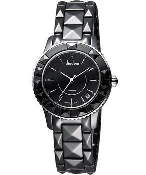 Diadem 黛亞登 巴洛克優雅陶瓷女錶-黑 7D5122SD