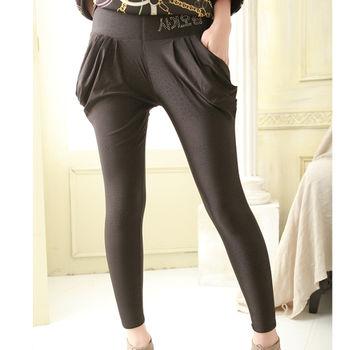 【SHELOVES 喜樂絲】韓字樣水鑽彈性厚刷毛窄管褲-黑底紅紋