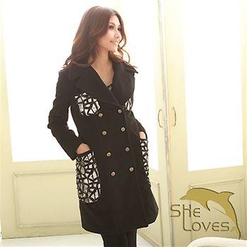 【SHELOVES 喜樂絲】時尚率性亮片菱格外套