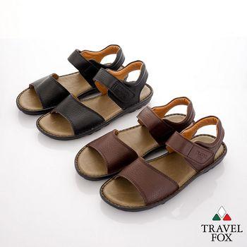 Travel Fox(男) 旅狐二字羅馬休閒牛皮涼拖鞋