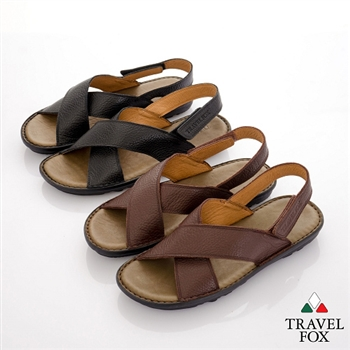 Travel Fox(男) 旅狐大交叉義式牛皮休閒涼鞋