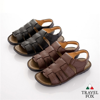 Travel Fox(男) 旅狐鞋牛皮舒適休閒涼拖鞋