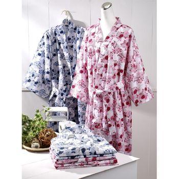 伊豆 日式和風睡浴袍2入組 藍+藍