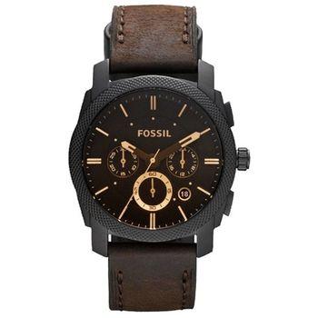 FOSSIL 星際時空三環運動腕錶-金時標/咖啡 FS4656
