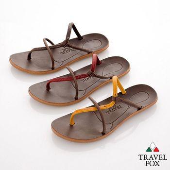 Travel Fox(女) 旅狐鞋 裸背線條勃肯式涼拖鞋