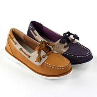 SNAIL 輕鬆派淺口牛皮小垂墜帆船鞋-紫色/黃色