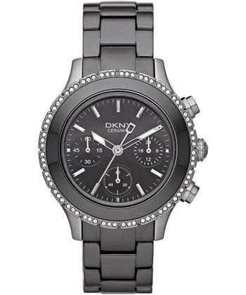 DKNY 陶瓷公主晶鑽計時腕錶-灰 NY8671