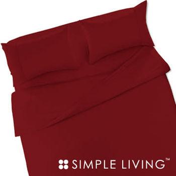【SIMPLE LIVING】素色系列床包組-雙人(酒紅色)