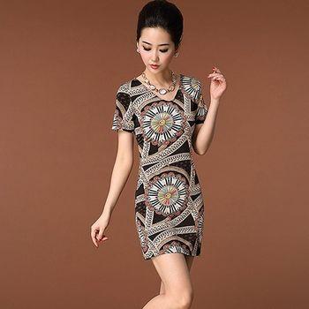 【Jisen】民族風印花針織洋裝