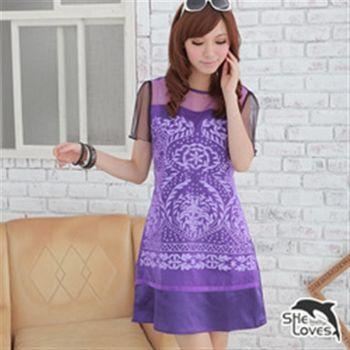 【SHELOVES 喜樂絲】透膚感毛線編織設計洋裝