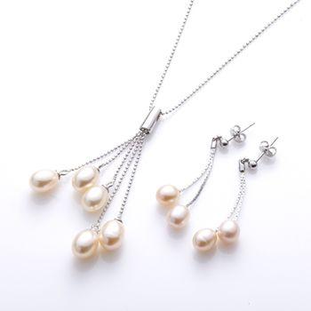 特價 森茂珠寶 嚴選 天然珍珠耳環項鍊套組022426