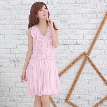 Sheloves粉色甜美V領洋裝