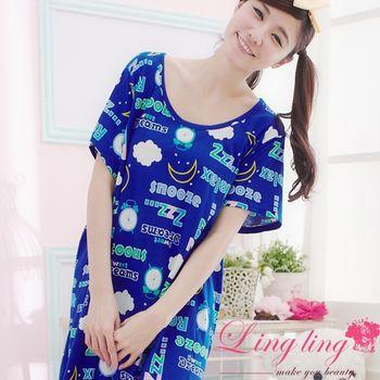 lingling 全尺碼-可愛插畫風連身休閒睡衣 潮流藍A1205